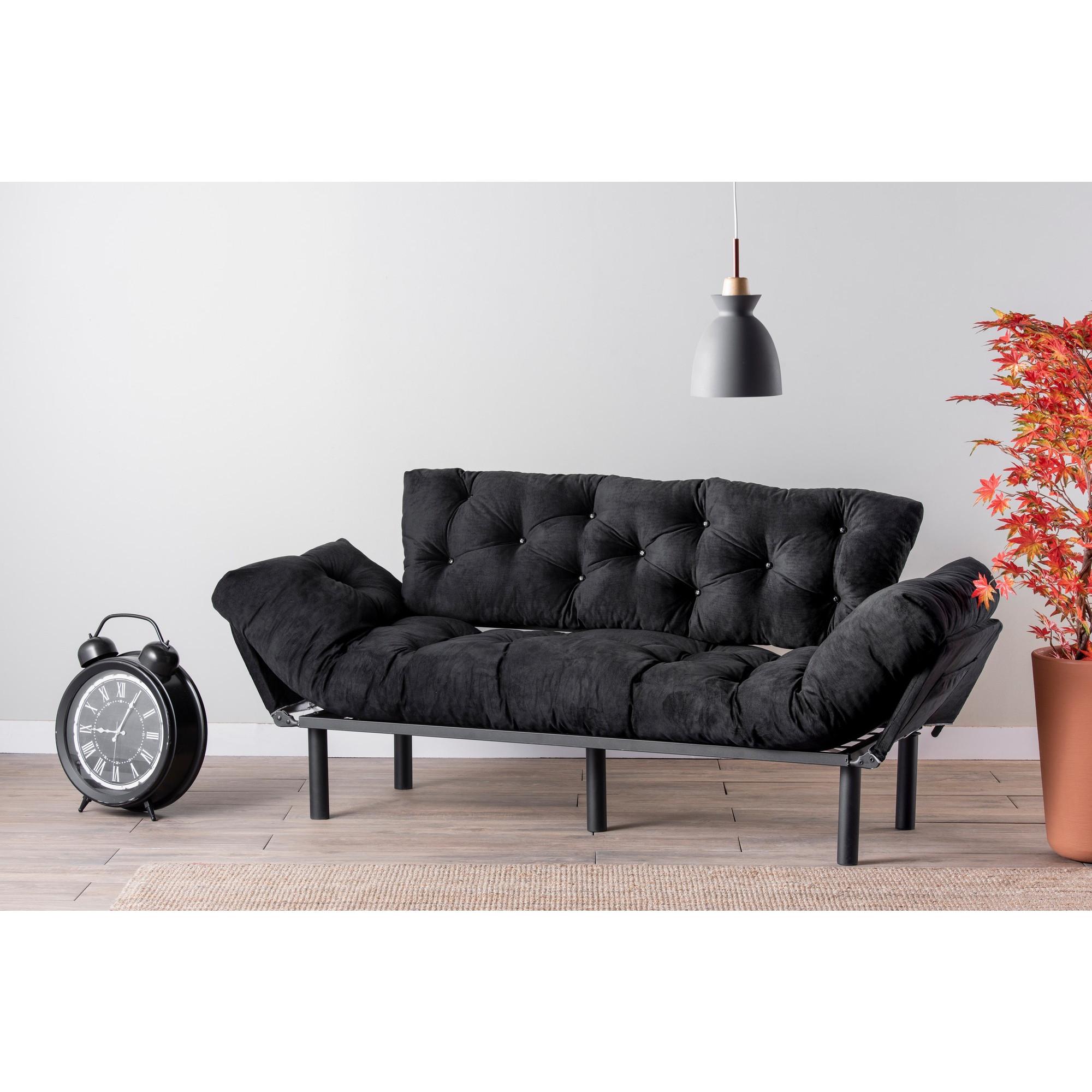 3-Sitz-Sofabett Nitta | Schwarz
