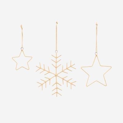 Schneeflocken & Sterne Ornamente | Gold