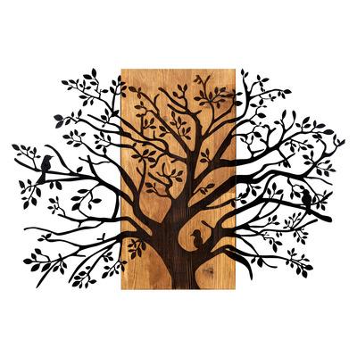 Dekoratives Wandzubehör aus Holz Kavak l Walnuss-Schwarz
