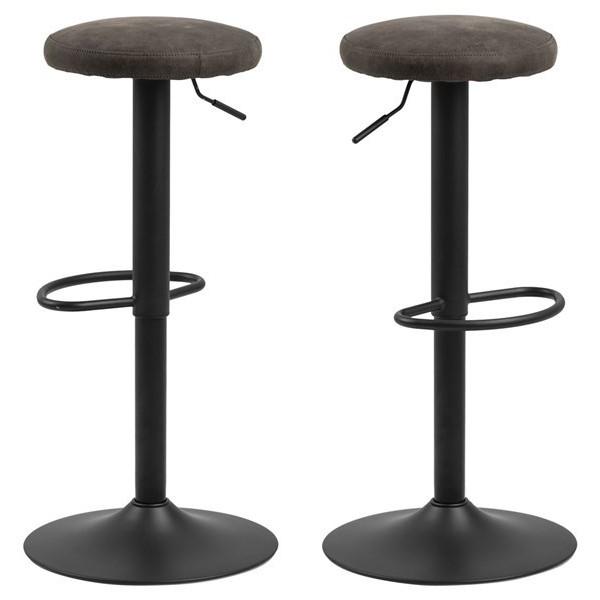 Set of 2 Bar Stools Lynch | Anthracite