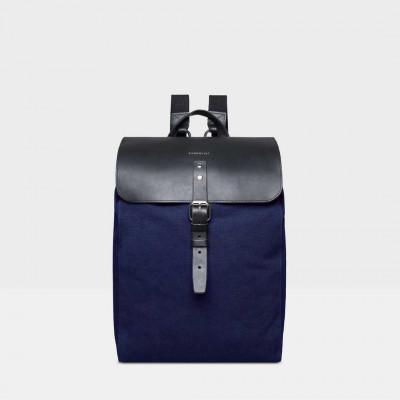 Rucksack ALVA | Blau mit schwarzem Leder