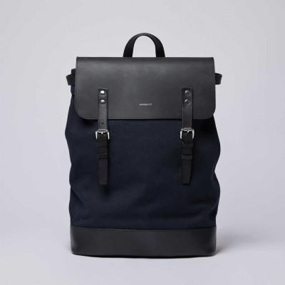 Rucksack HEGE | Blau mit schwarzem Leder