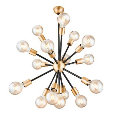 Hängelampe Tubo mit 16 Leuchten | Schwarz & Gold