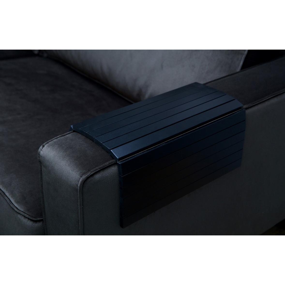 Flexible Wooden Armrest Tray XL | Black