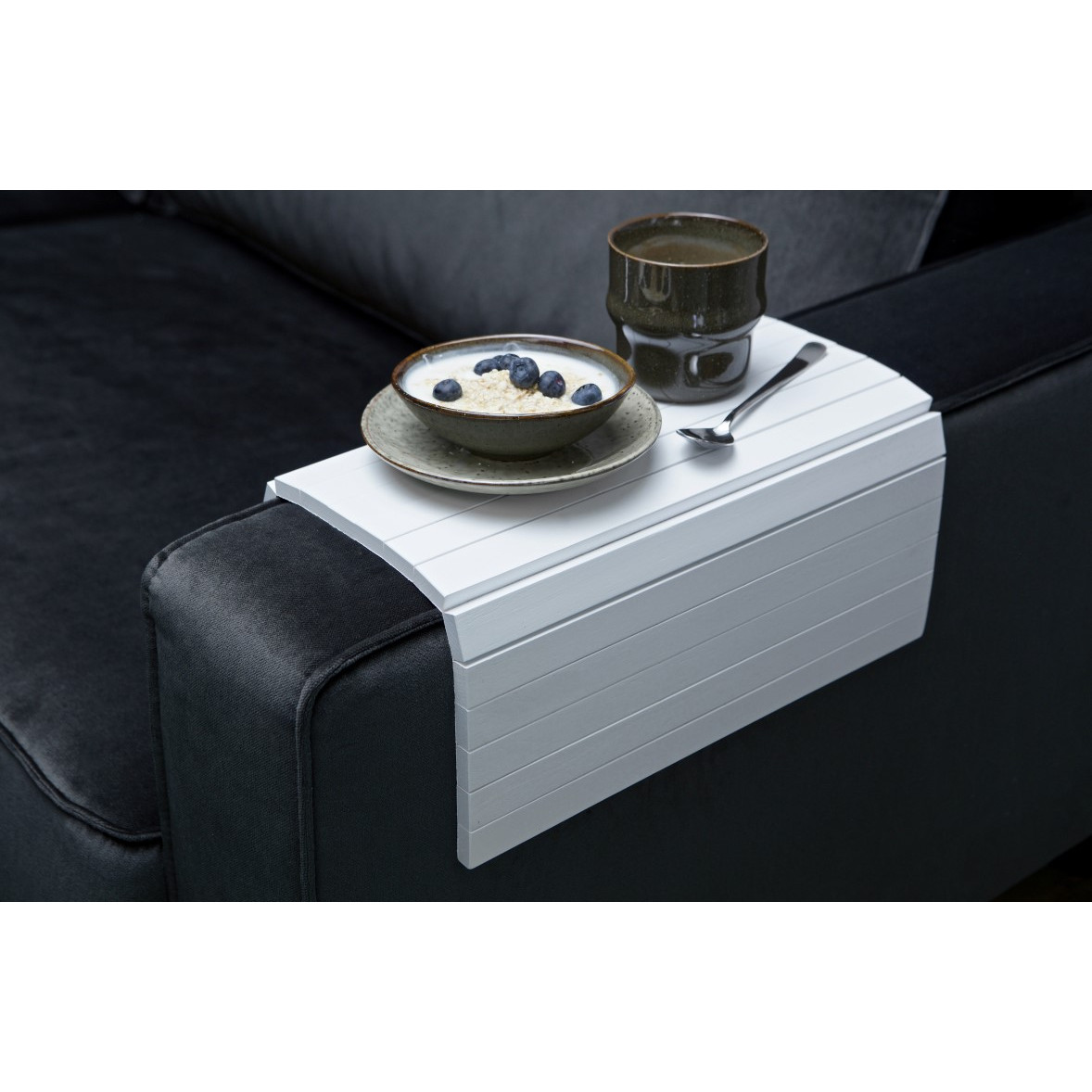 Flexible Wooden Armrest Tray XL | White