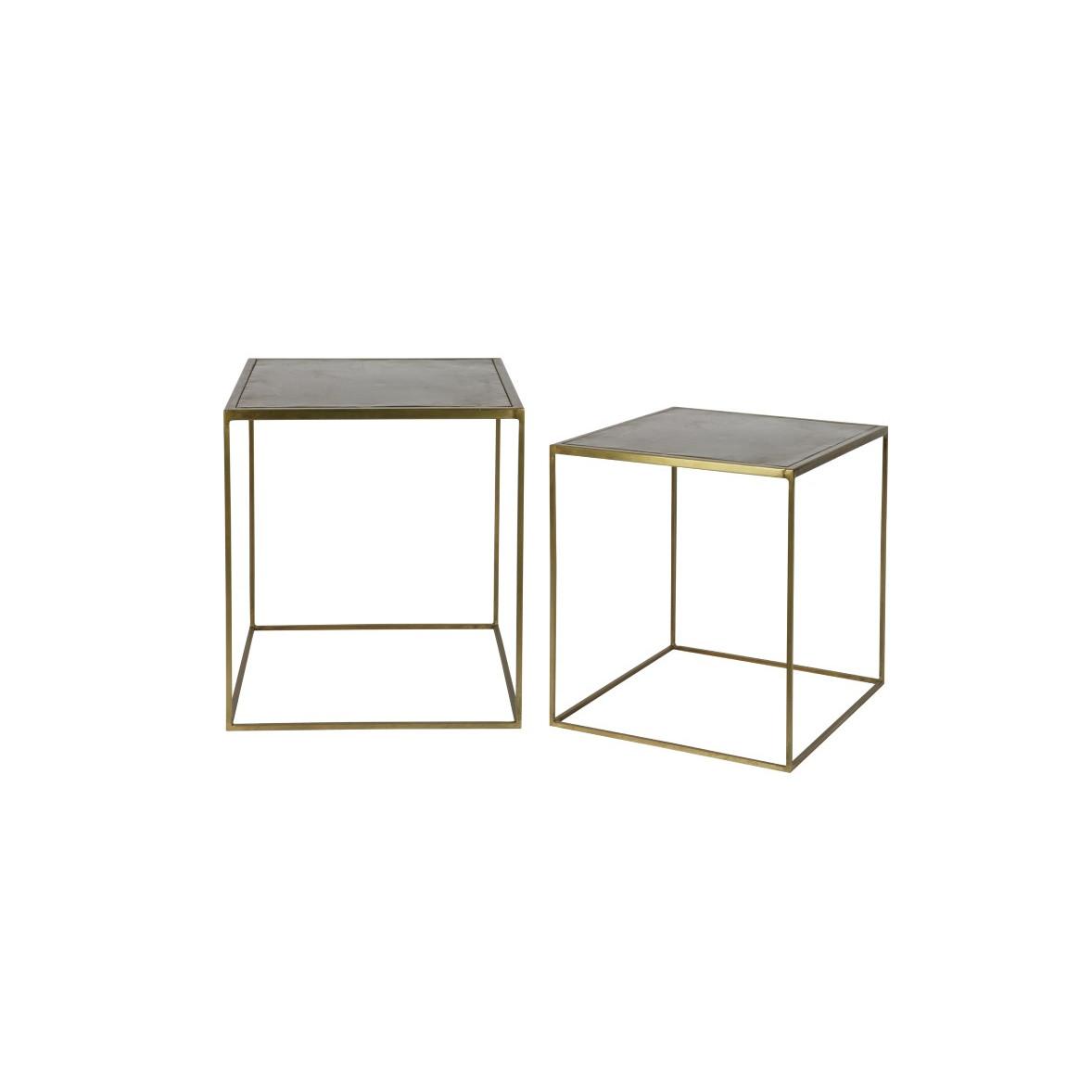 Side Table Metallic   Set of 2   Brass
