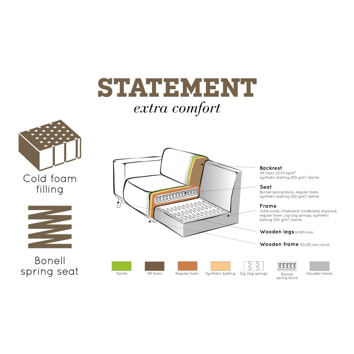 Sofa mit Récamiere Rechts   Grau