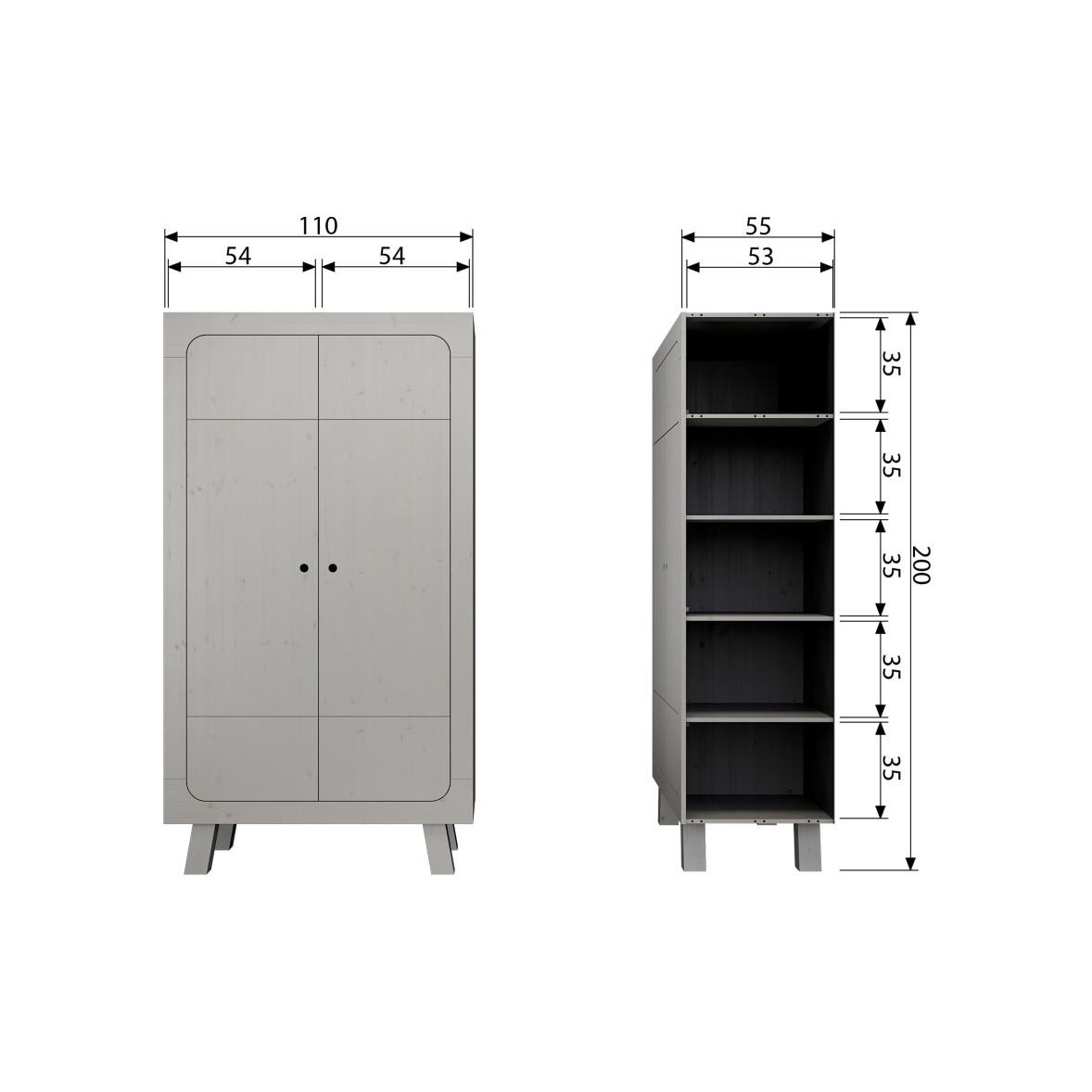 Schrank 2 Türen Sammie | Grau