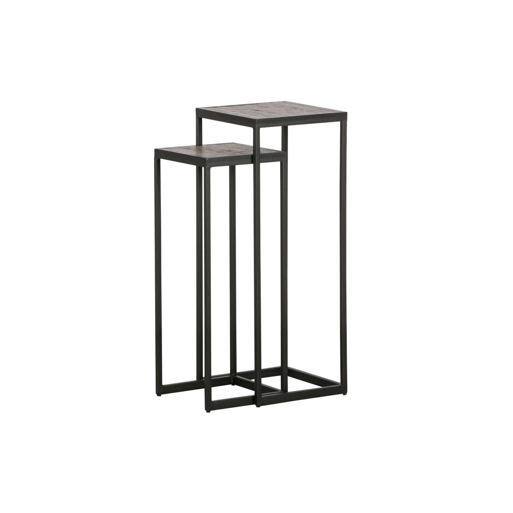 2er-Set Beistelltische Vic Holz/Metall