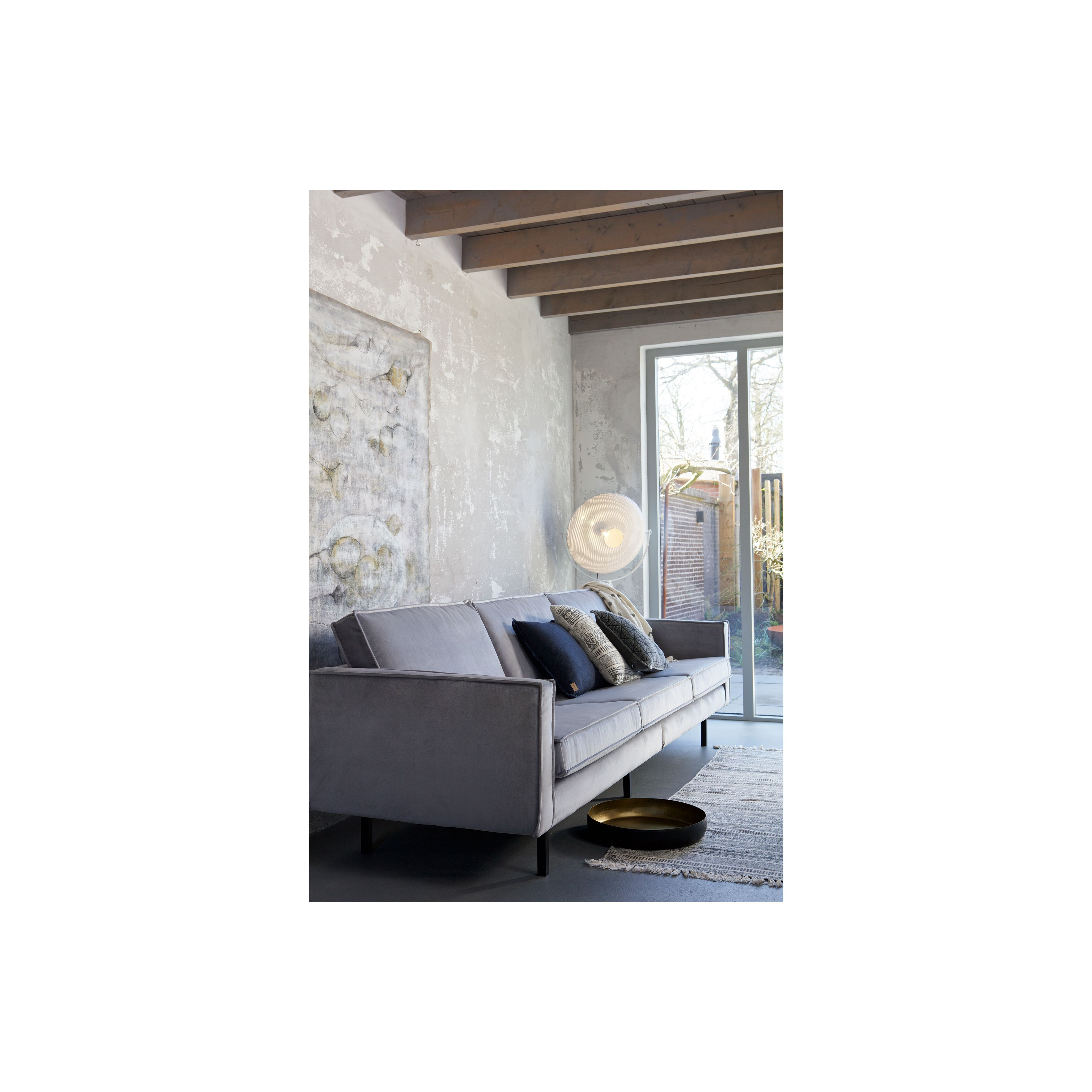 3-Sitzer-Sofa | Samt hellgrau