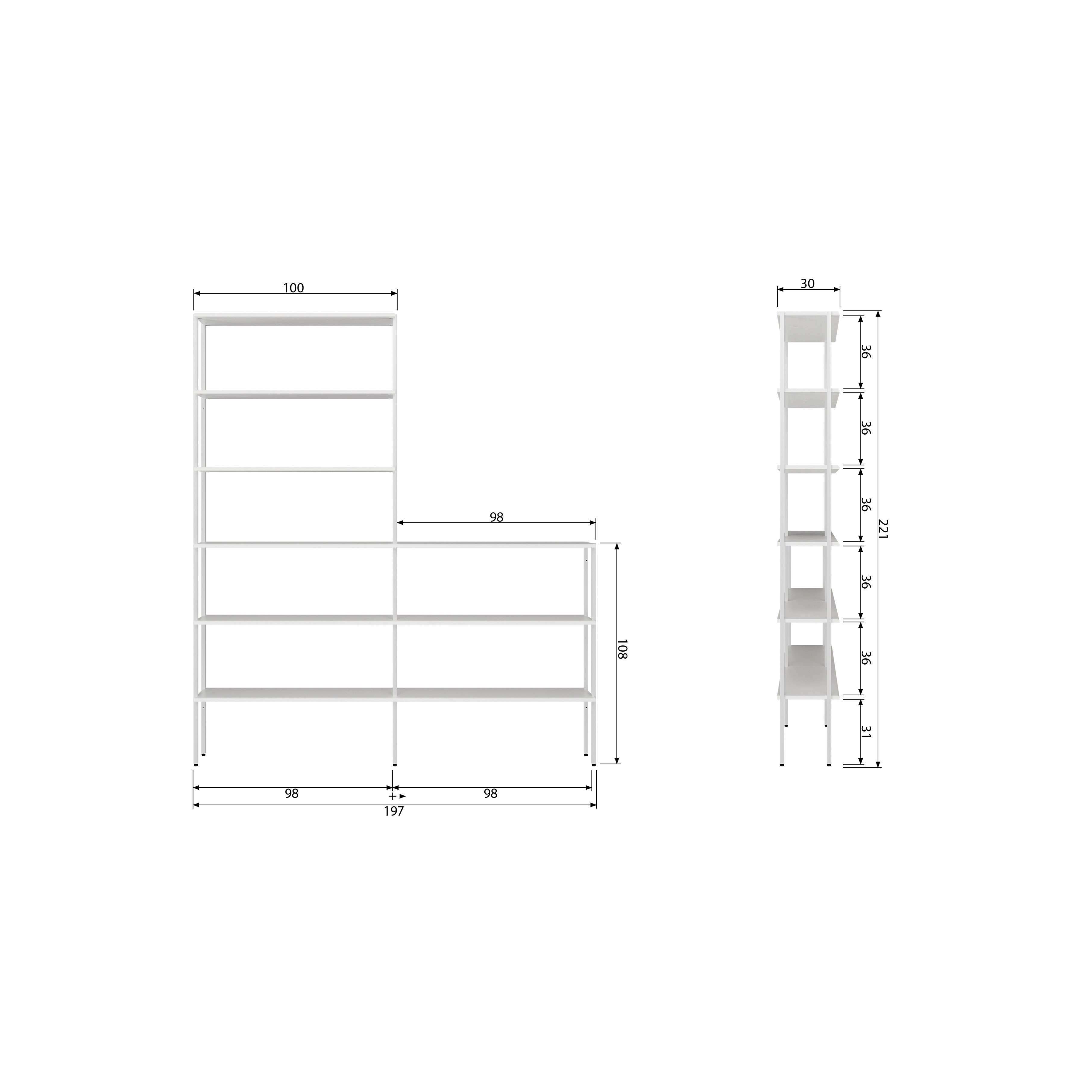 Rack Uprights High to Low Set of 2   White