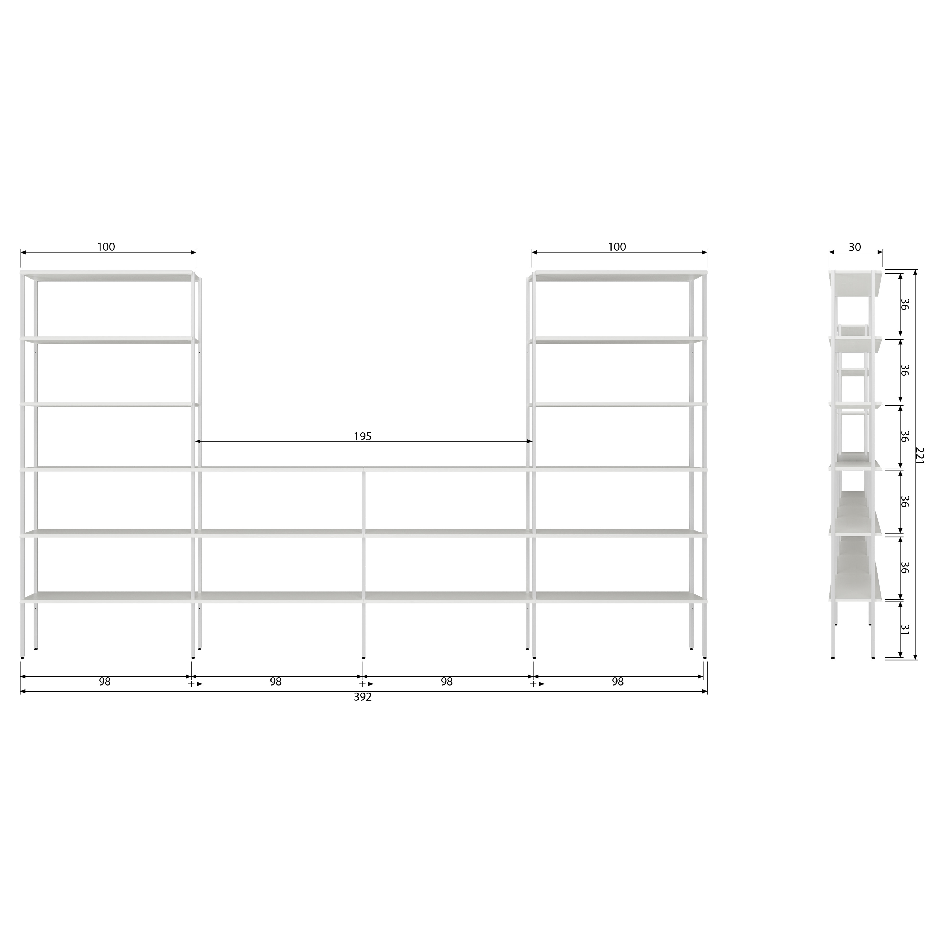 Rack Uprights Low Middle Set of 2 | White