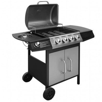 Gas Barbecue Grill 4+1 Cooking Zone | Black & Silver