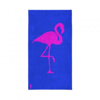 Beach Towel Flamingo   Blue