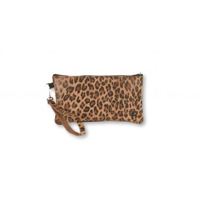 Zweiseitige Clutch Kate   Leopard Dunkel