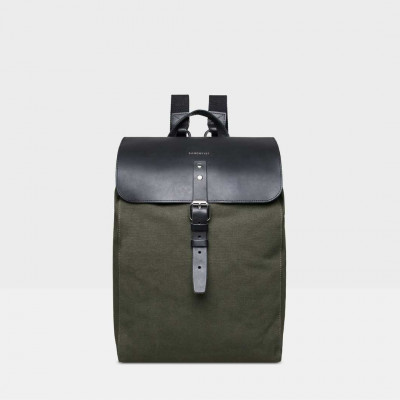 Rucksack ALVA | Beluga Grün mit schwarzem Leder