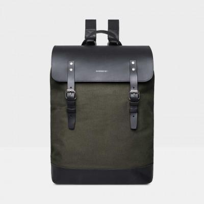 Rucksack HEGE | Beluga Green mit schwarzem Leder