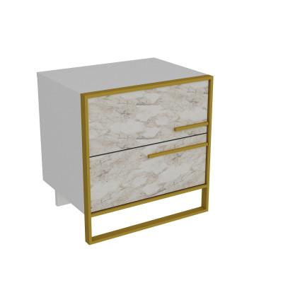 Nachttisch Polka | Weiß / Gold