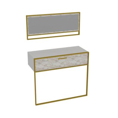 Wandtisch & Spiegel Polka Aynali | Weiß / Gold