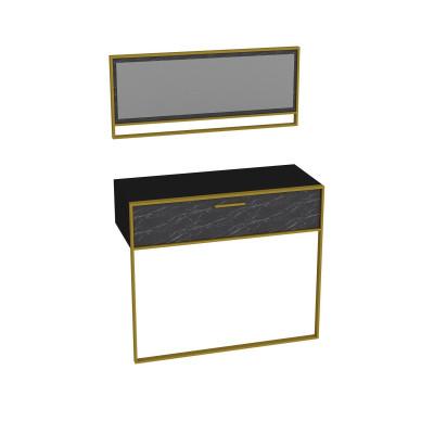 Wandtisch & Spiegel Polka Aynali | Schwarz / Gold