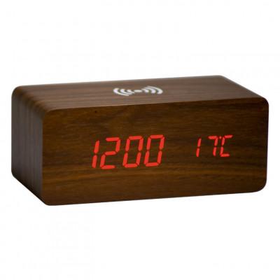 Uhrenholz mit drahtlosem Ladegerät | Braun