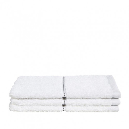 Washcloth Grid White   Set of 3