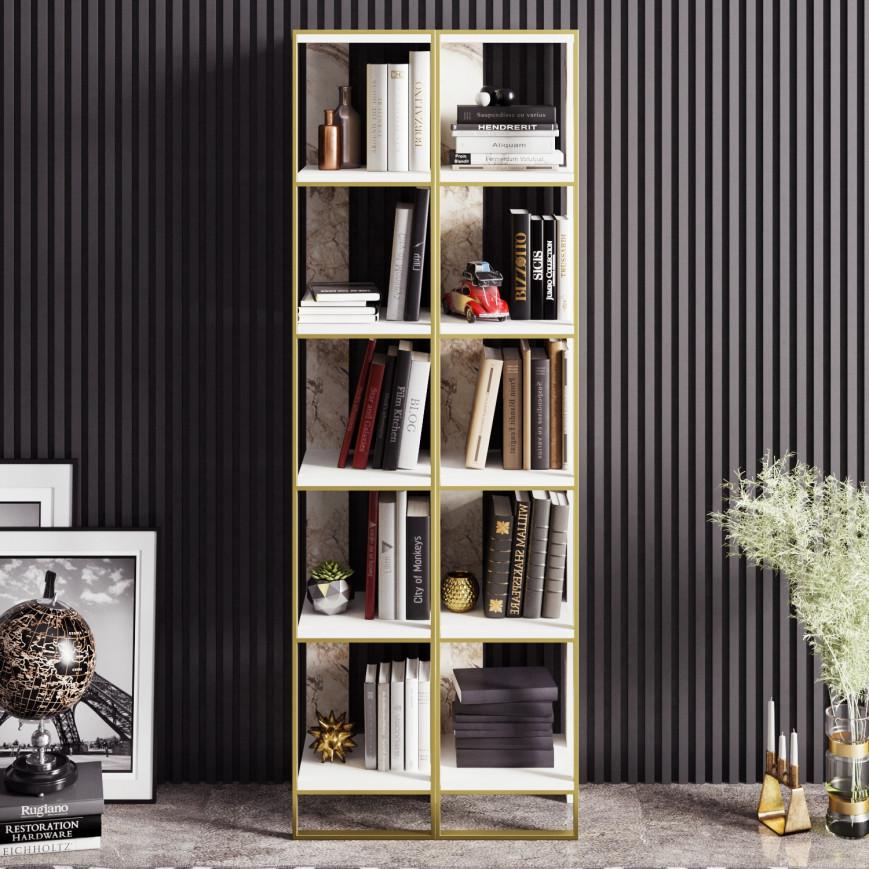 Bookshelf Polka 2 | White / Gold