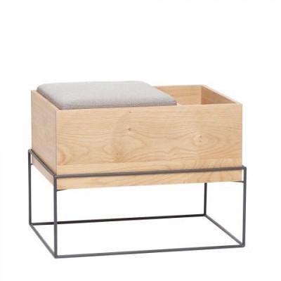 Sitzbank mit Kissen | Natur, grau