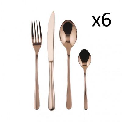 Besteck Set mit 24 Stücke Taste | Edelstahl Kupfer