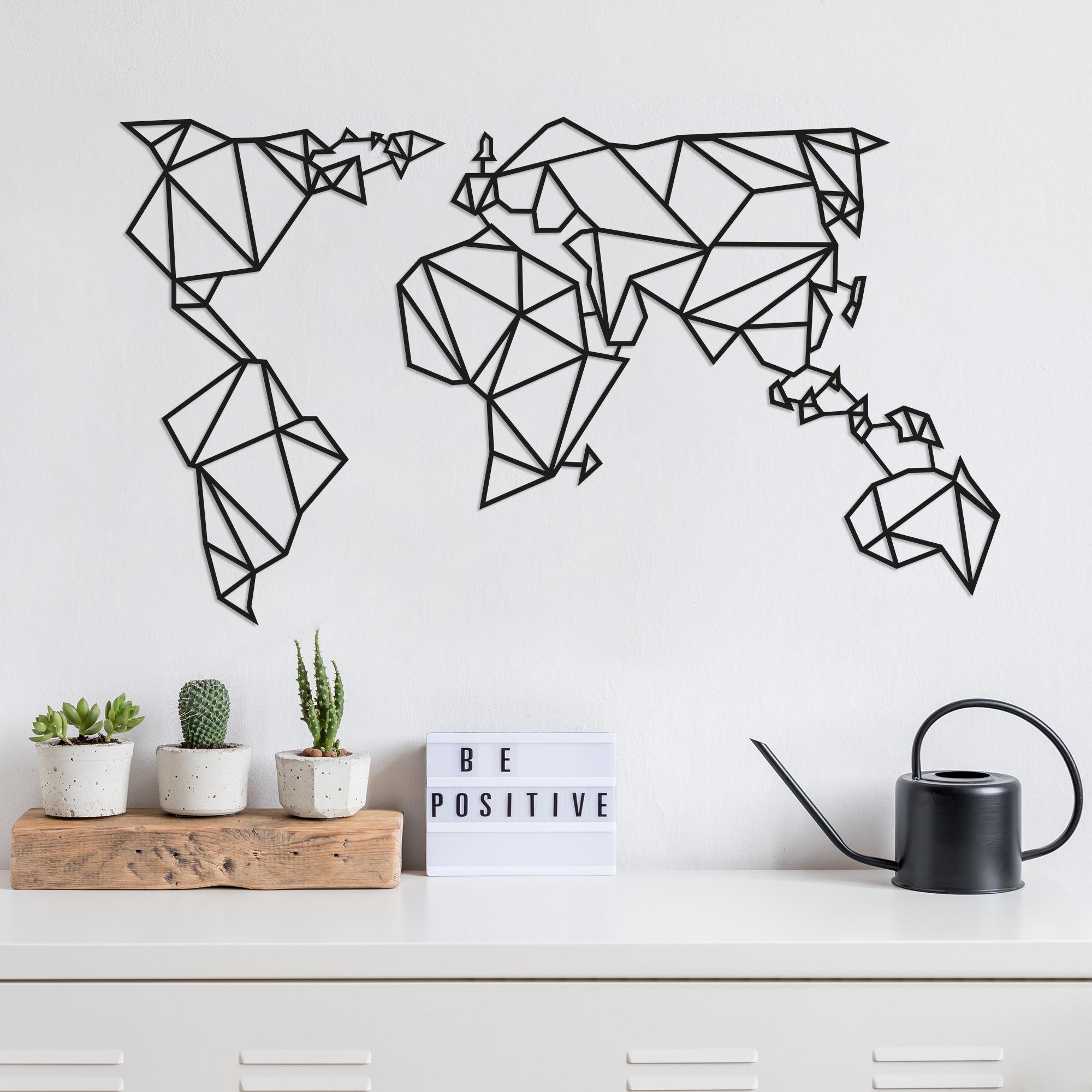 Wall Decoration World Map 2   Black