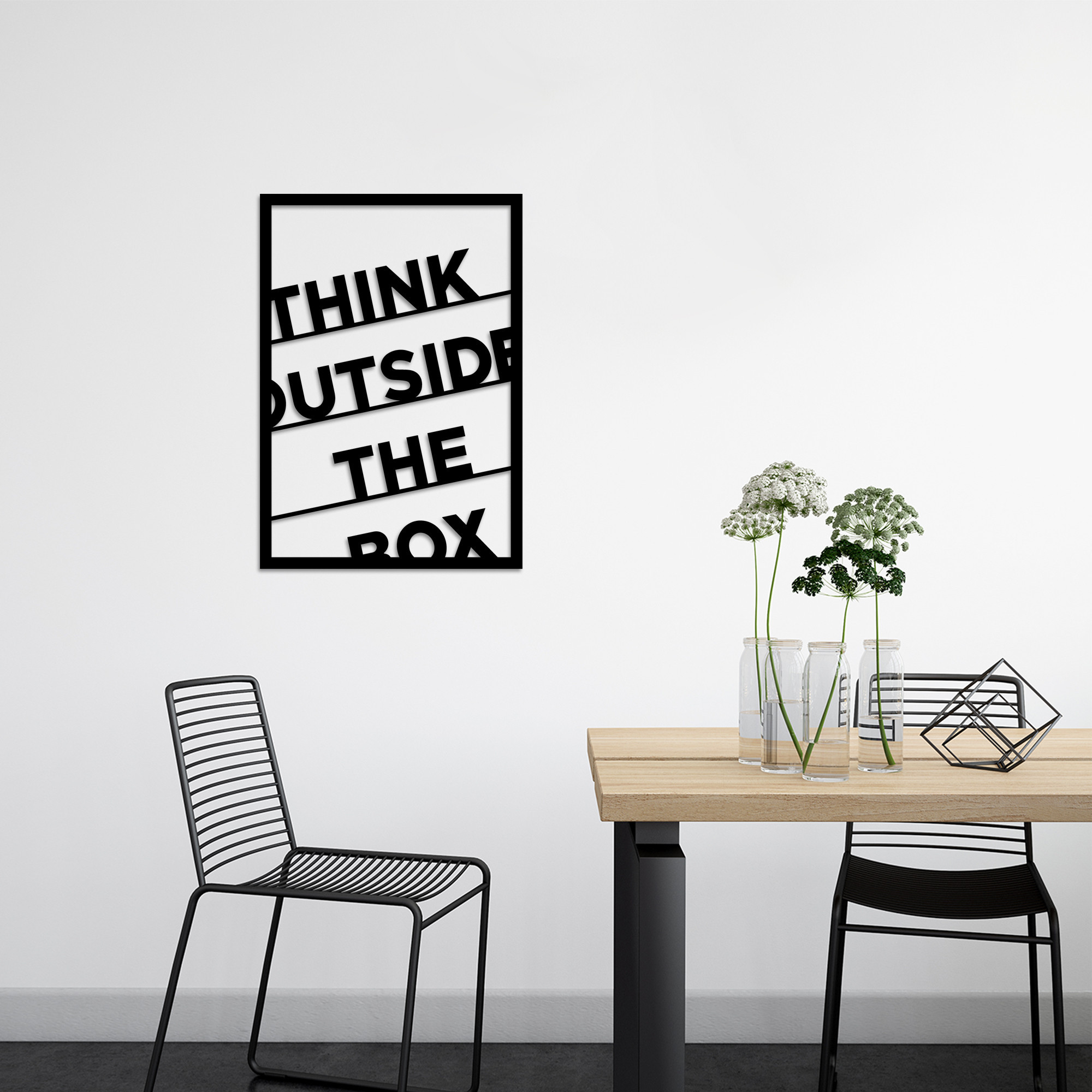 Wall Decoration Think Outside The Box | Black
