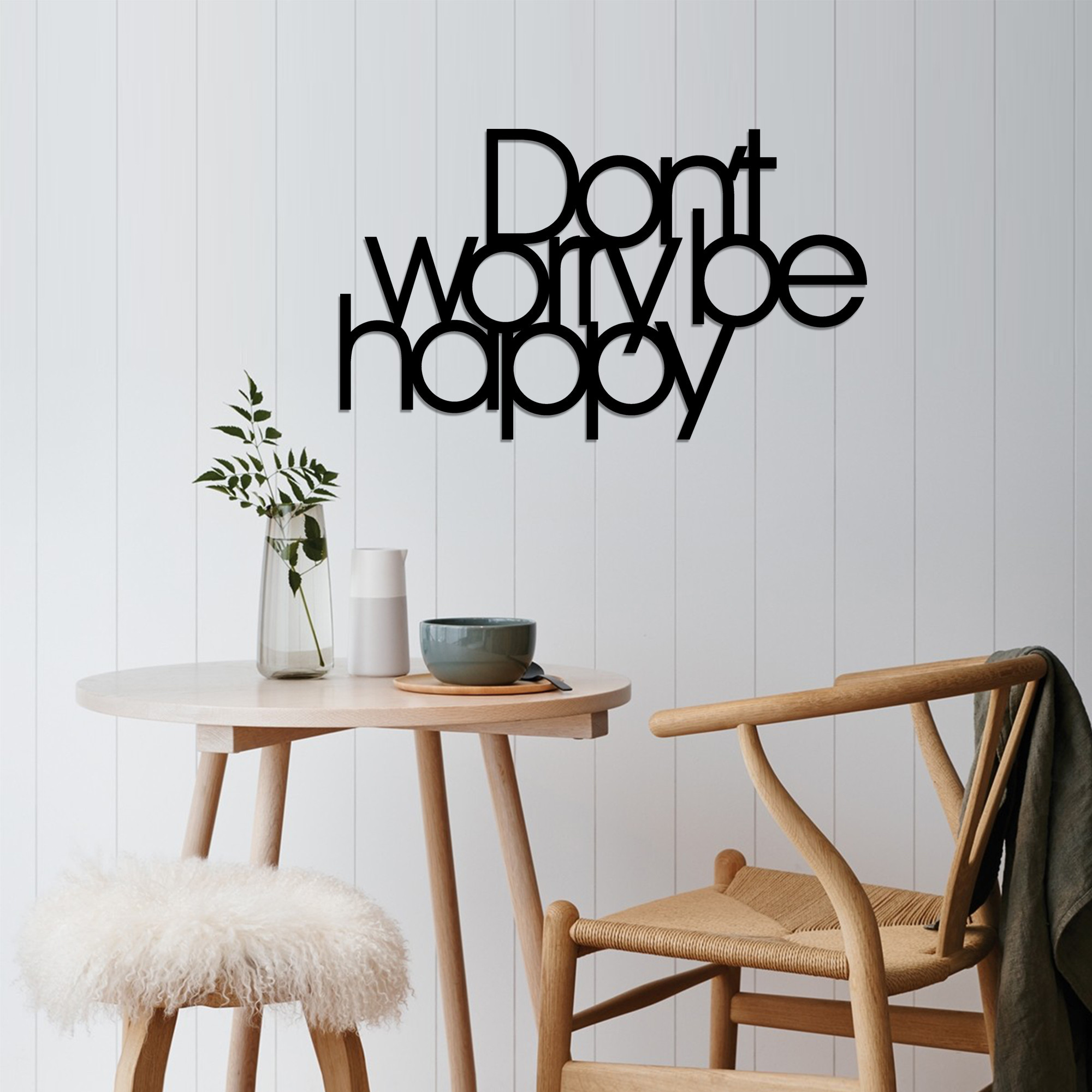 Wall Decoration Don't Worry Be Happy   Black