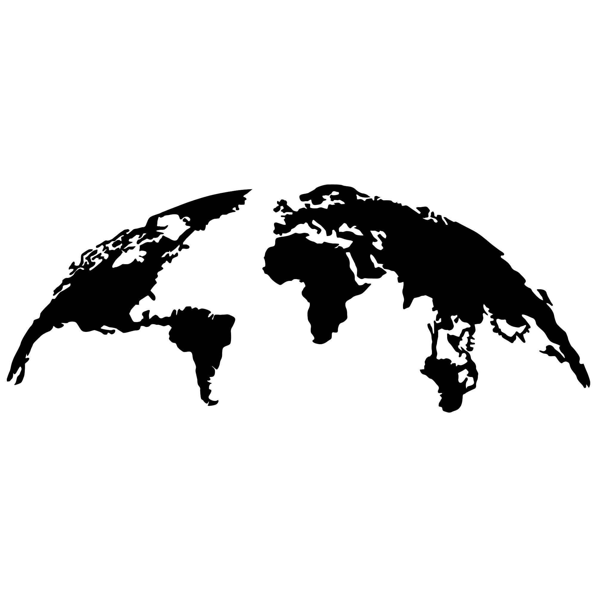 Wall Decoration World Map Large   Black