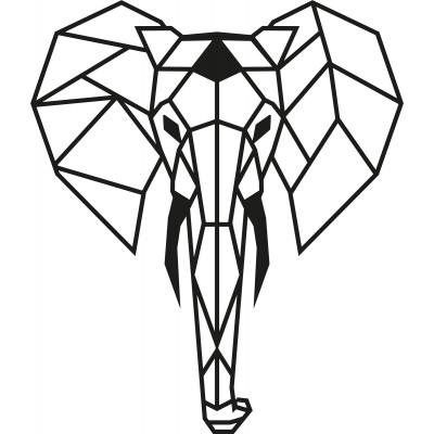 Wandschmuck Elefant | Schwarz