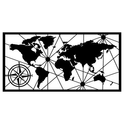Wandschmuck Weltkarte Groß 2 | Schwarz