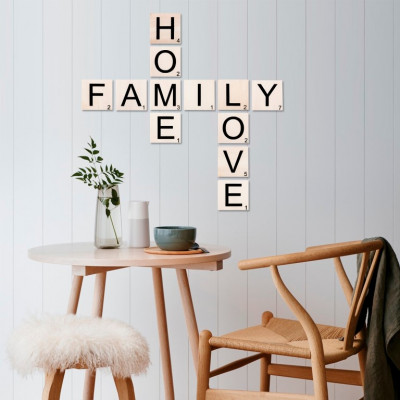 Wandzitat Scrabble Home, Family, Love