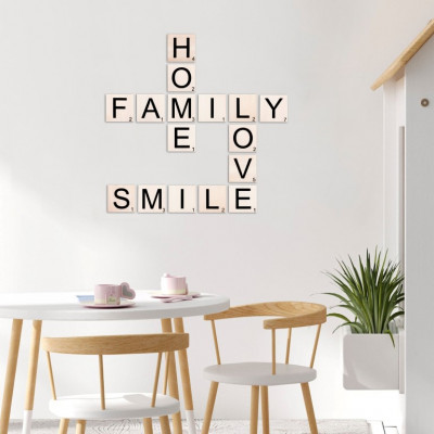 Wandzitat Scrabble Home, Family, Love, Smile