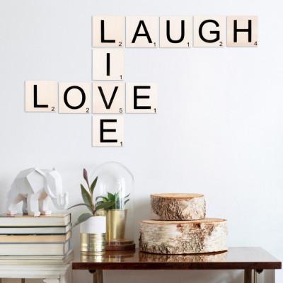 Wandzitat Scrabble Live, Love, Laugh