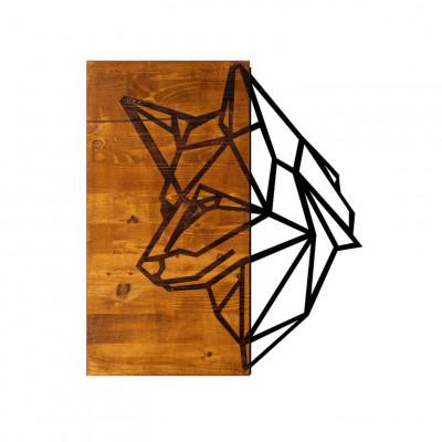 Wanddekoration Wolf | Nussbaum Schwarz