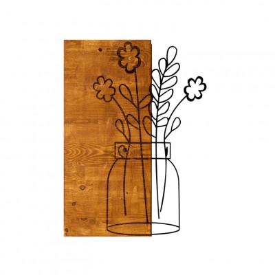 Wanddekoration Blume 2 | Nussbaum Schwarz