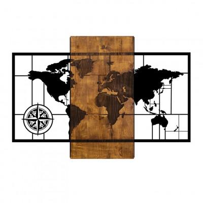 Wanddekoration Weltkarte mit Kompass | Nussbaum Schwarz