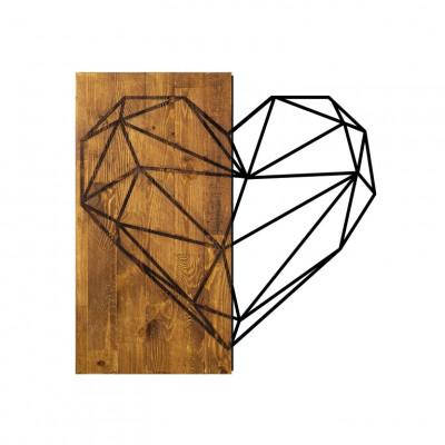 Wanddekoration Herz | Nussbaum Schwarz