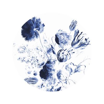Wallpaper Circle Small Royal Blue Flowers