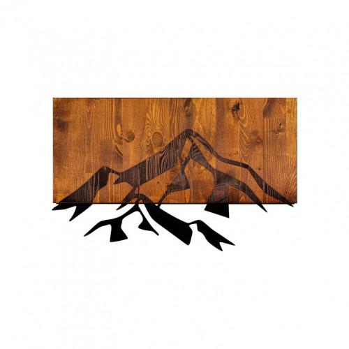 Wanddekoration Berg 1   Nussbaum Schwarz
