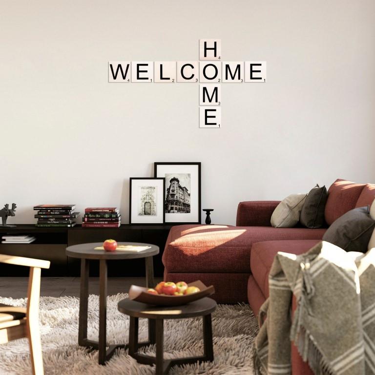 Wandzitat Scrabble Welcome Home
