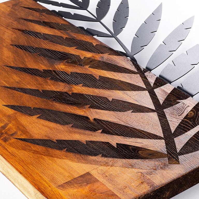 Wanddekoration Blatt 3 | Nussbaum Schwarz