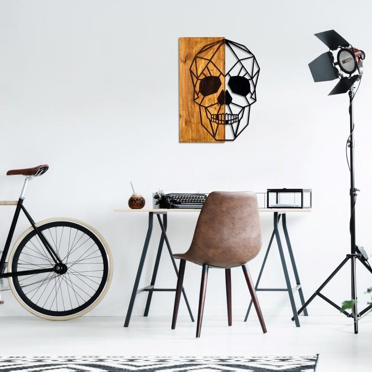 Wanddekoration Schädel | Nussbaum Schwarz