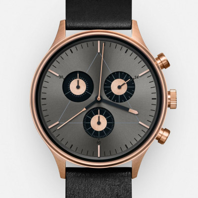 The Engineer Analog Watch   PVD Rose Gold, Black Italian Leather Strap