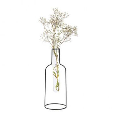 Vase Flasch Silhouette 20 cm | Schwarz