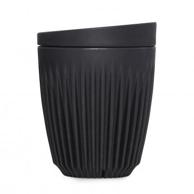 Wiederverwendbare Kaffeetasse + Deckel Huskee 24 cl | Holzkohle